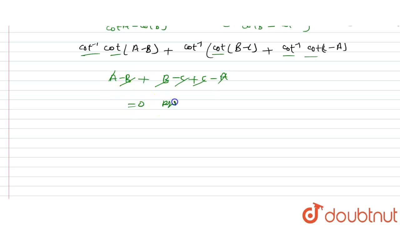 Solution for सिद्ध कीजिए -  <br> cot^(-1)((xy+1),(x-y))+cot^(-