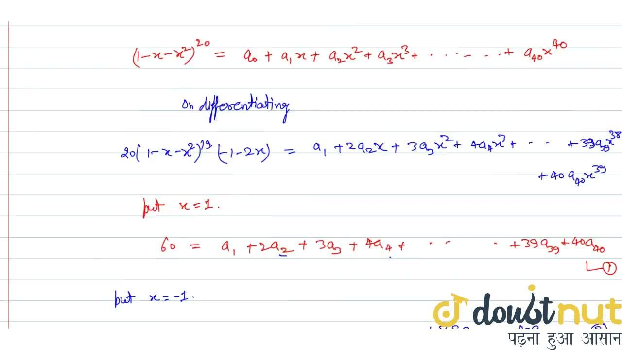 Solution for If  (1-x-x^2)^(20)=sum_(r=0)^40 a_r x^r, then