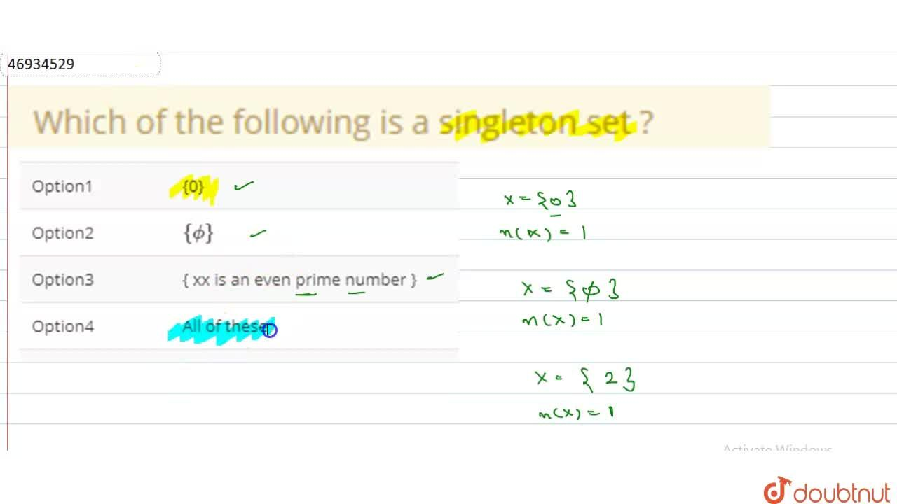 Solution for Which of the following is a singleton set ?