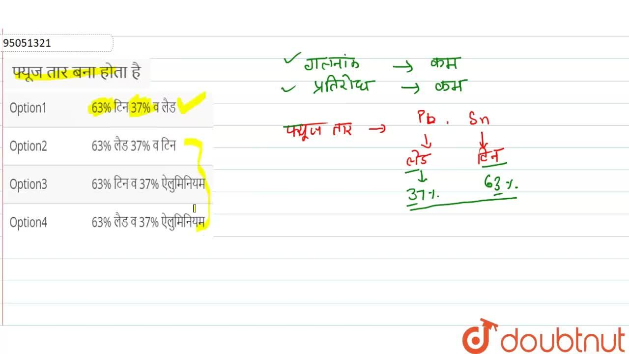 Solution for फ्यूज तार बना होता है