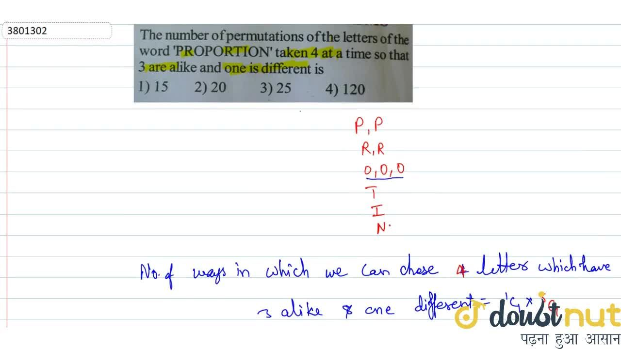Solution for The number of permutations of the letters of the w