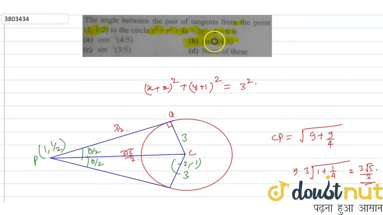 Solution for The angle between the pair of tangents from the po