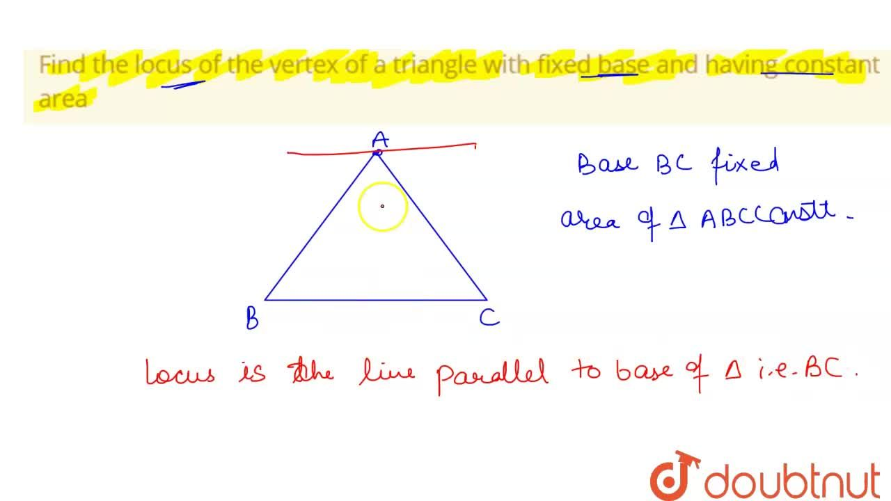 Solution for Find the locus of the vertex of a triangle with fi