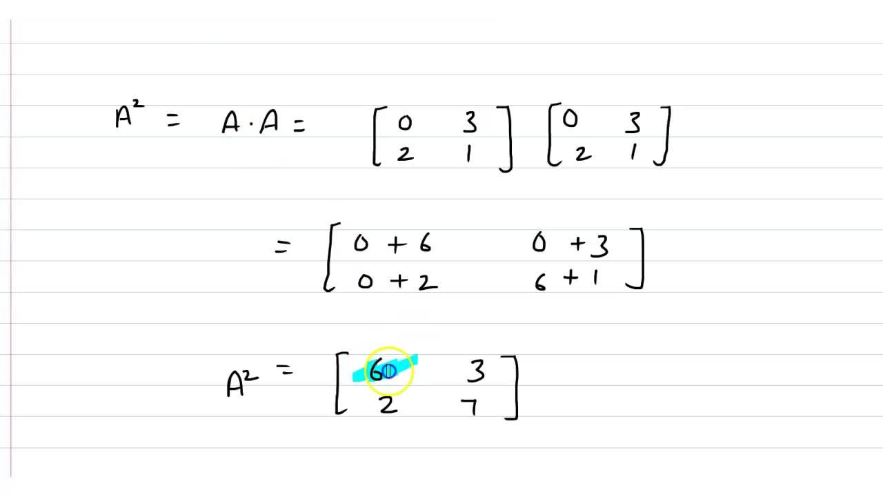 Solution for यदि A=[{:(0,3),(2,1):}],  तो A^(2)  ज्ञात  कीज