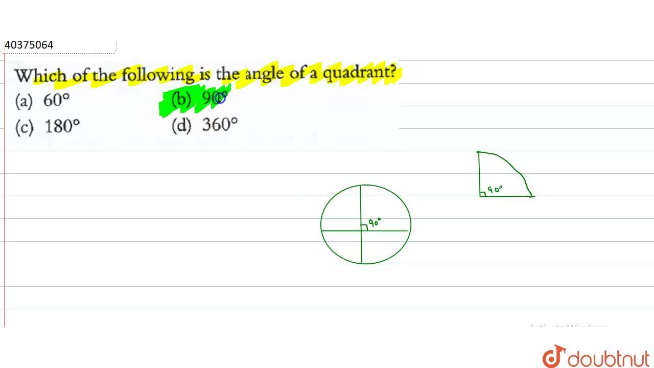 Solution for Which of the following is the angle of a quadrant?