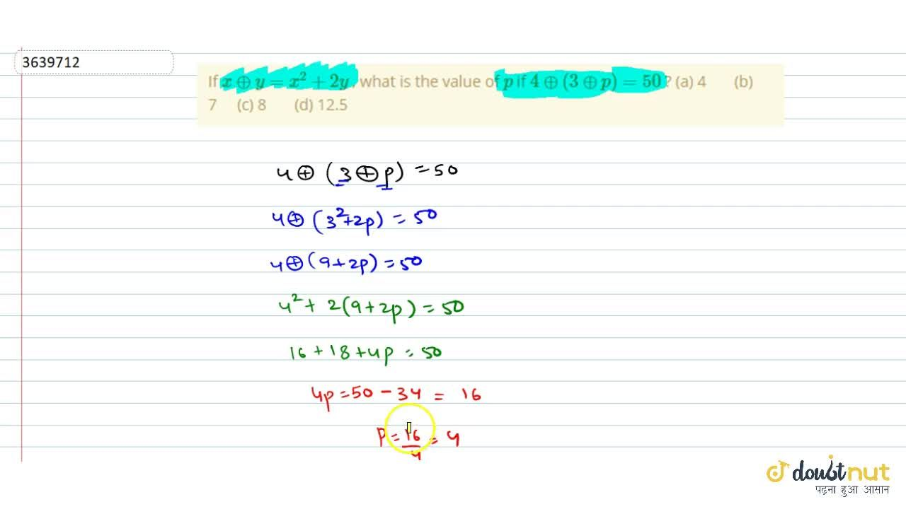 Solution for If xo+y=x^2+2y , what is   the value of p if