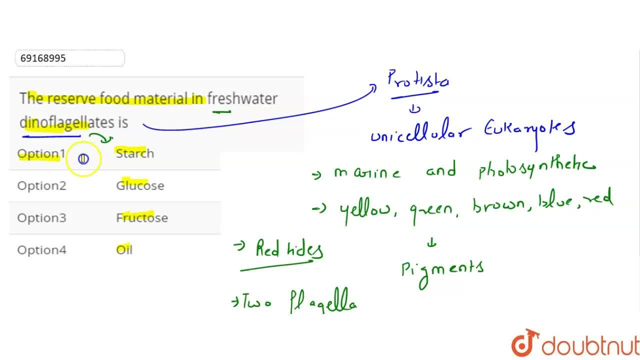 The reserve food material in freshwater dinoflagellates is