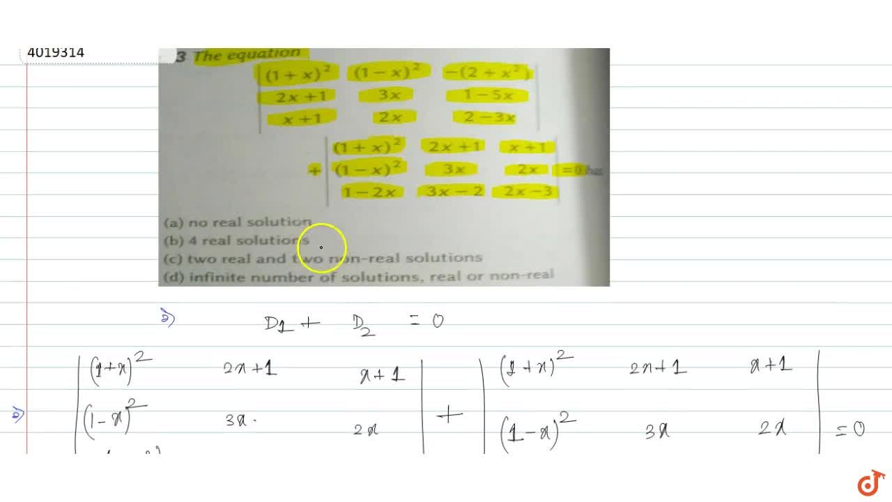Solution for The equation  |((1+x)^2,(1-x)^2,-(2+x^2)),(2x+1,3