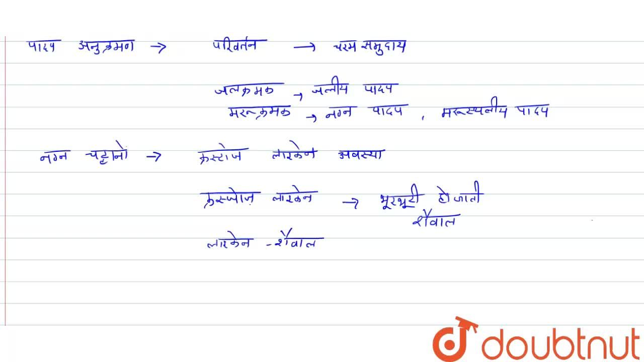 Solution for नग्न चट्टानों पर पारिस्थितिक अनुक्रमण (Ecological