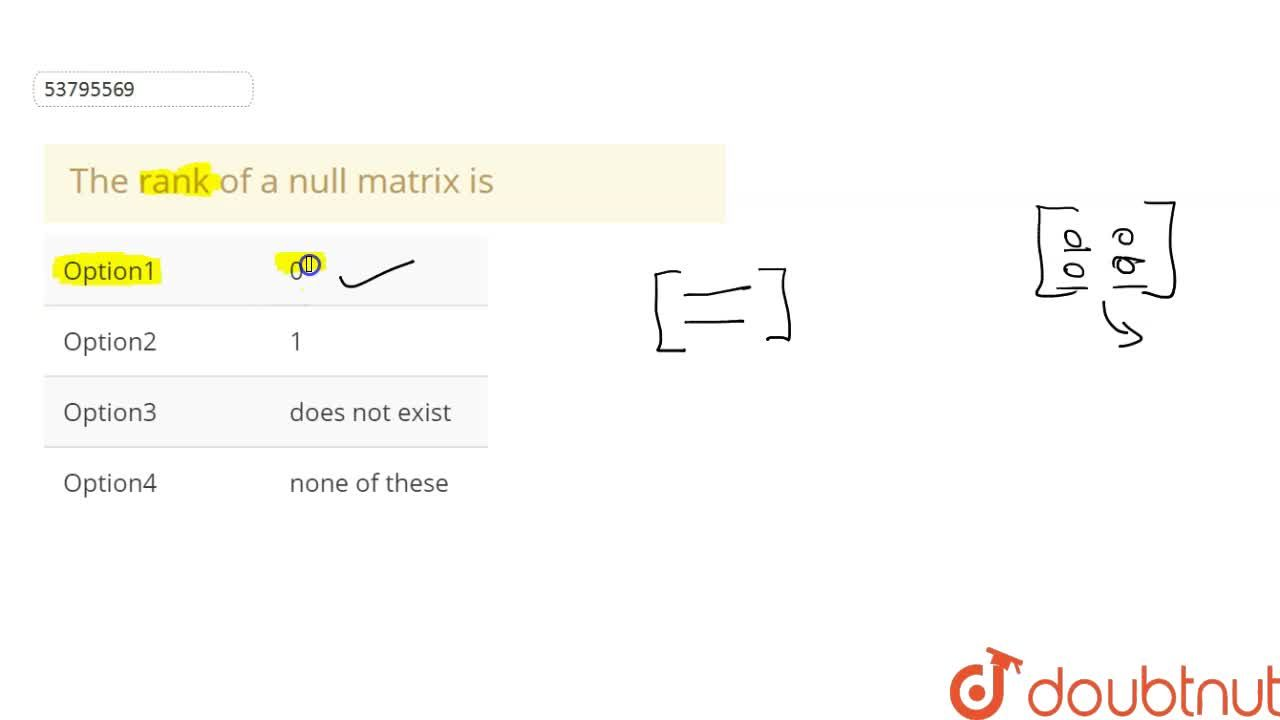 Solution for The rank of a null matrix is