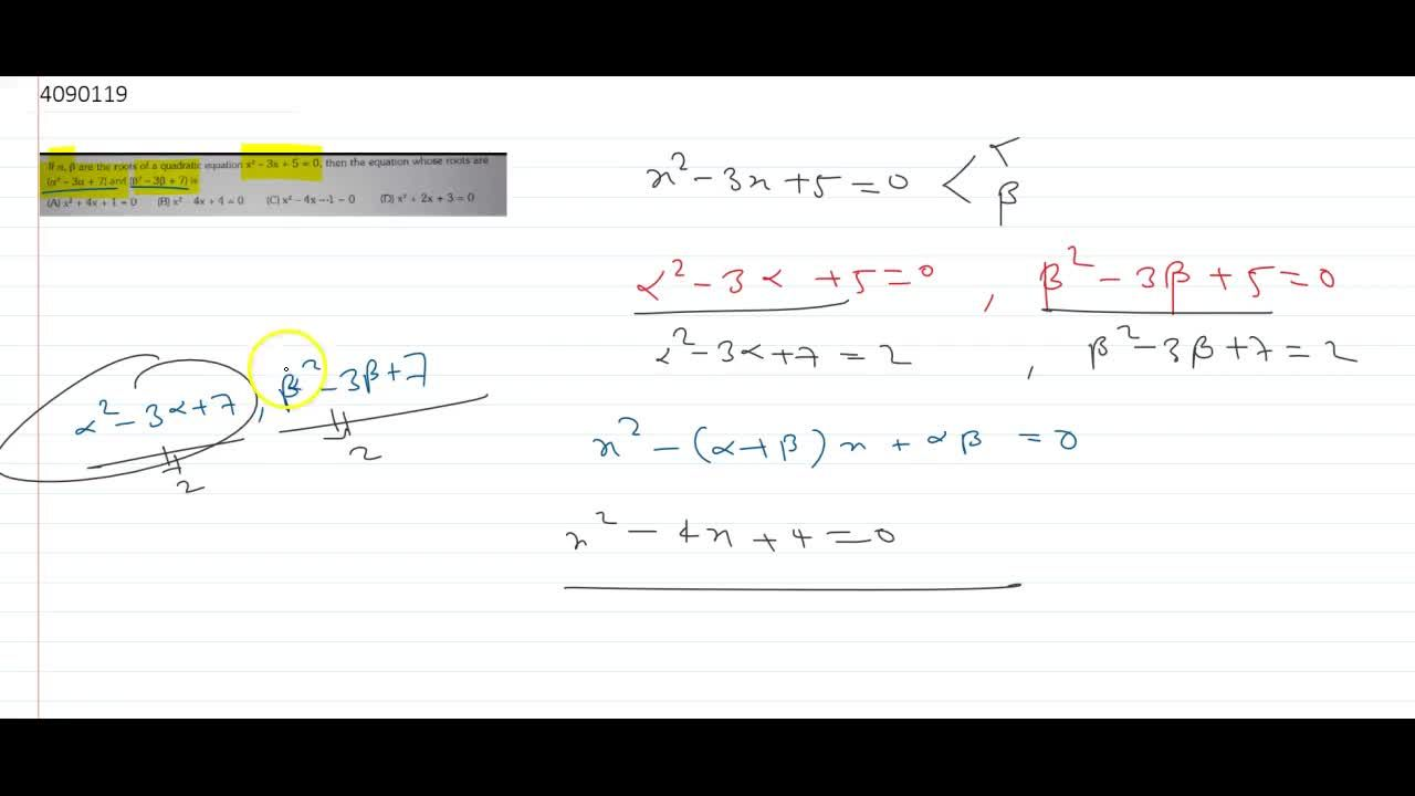 Solution for If alpha, beta are the roots of a quadratic equa