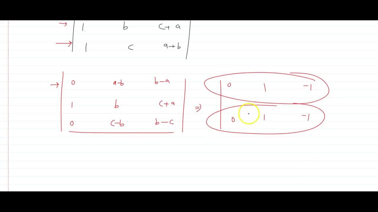 Solution for prove that |[1,a,b+c],[1,b,c+a],[1,c,a+b]|=0