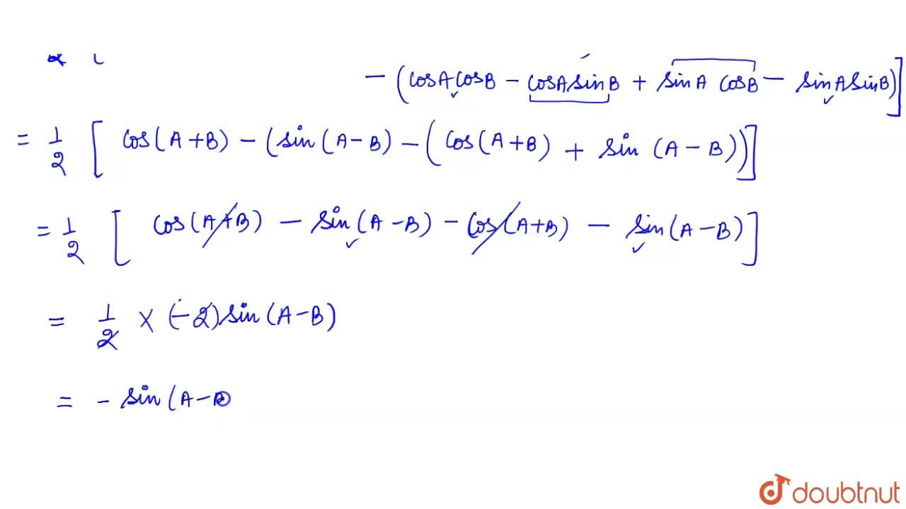 Solution for cos ( 45^(@) +A) cos ( 45^(@) -B)-sin (45^(@) +A)