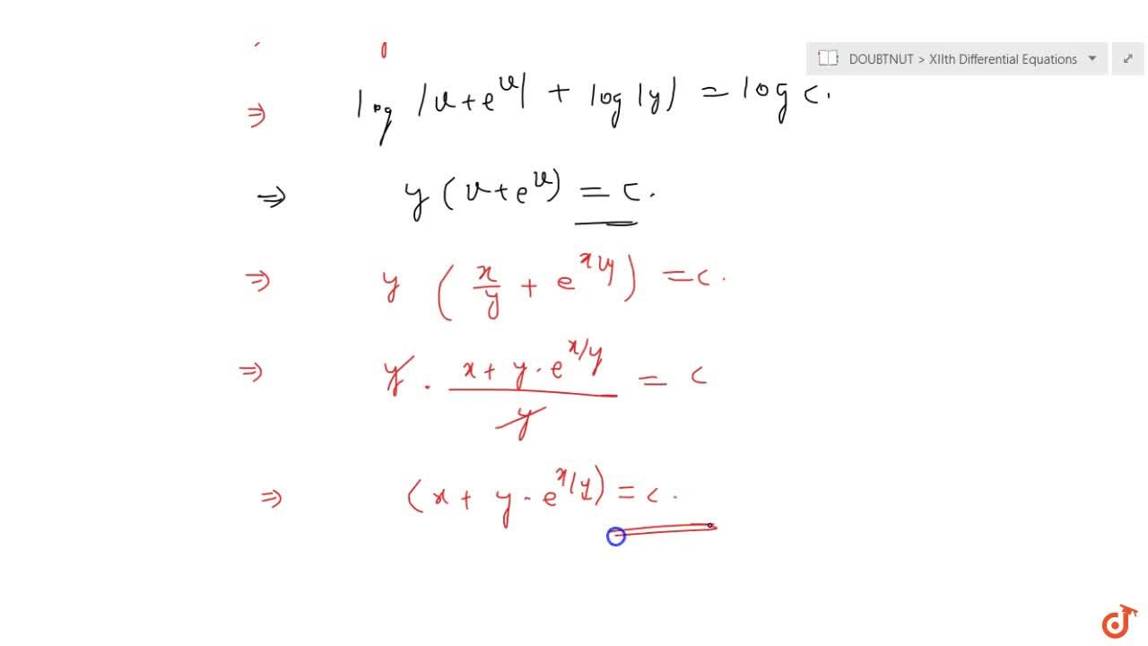 Solution of the differential equation (1+e^(x,y))dx + e^(x,y)(1-x,y)dy=0 is
