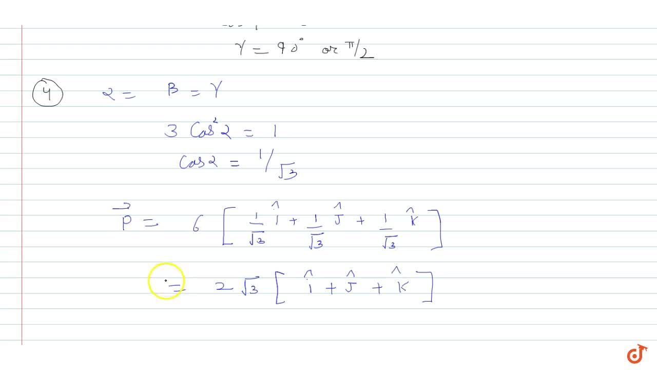 Solution for  A vector   makes an angle of pi,4 with each o