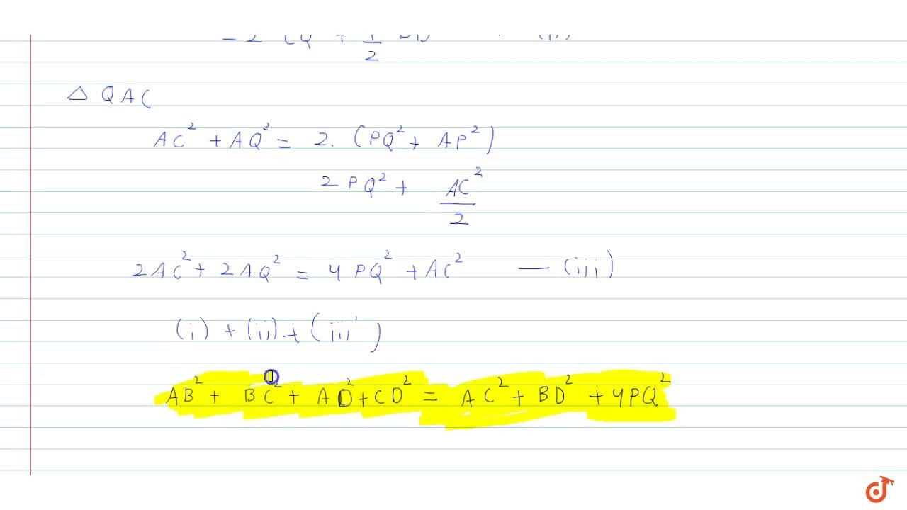 Solution for In a quadrilateral A B C D , prove that A B^2+B
