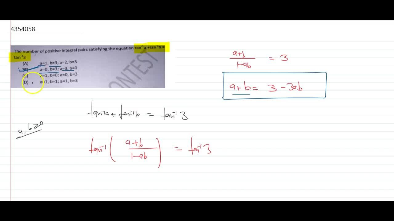 Solution for The number of positive integral pairs satisfying t