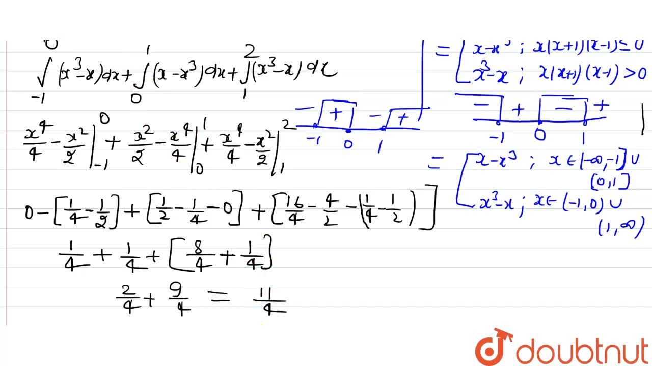 Solution for मान निकालें :  int_(-1)^(1)  |x-x^(3)|dx.