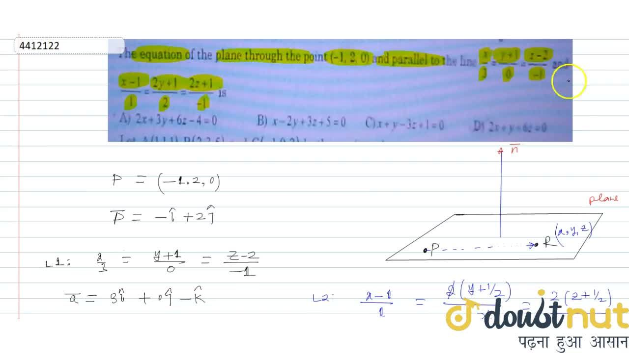 Solution for The equation of the plane through the point (-1,