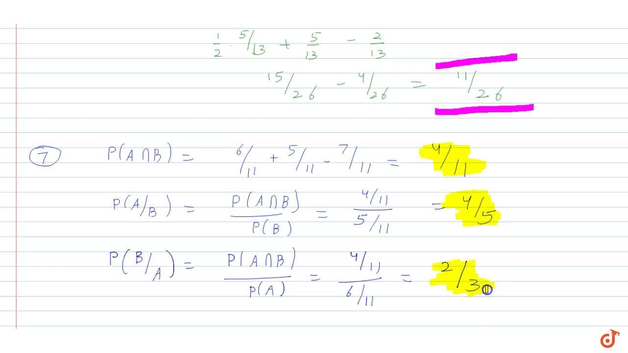 Solution for  If P(A)=6,(11),P(B)=5,(11) and P(AuuB)=7,(11)