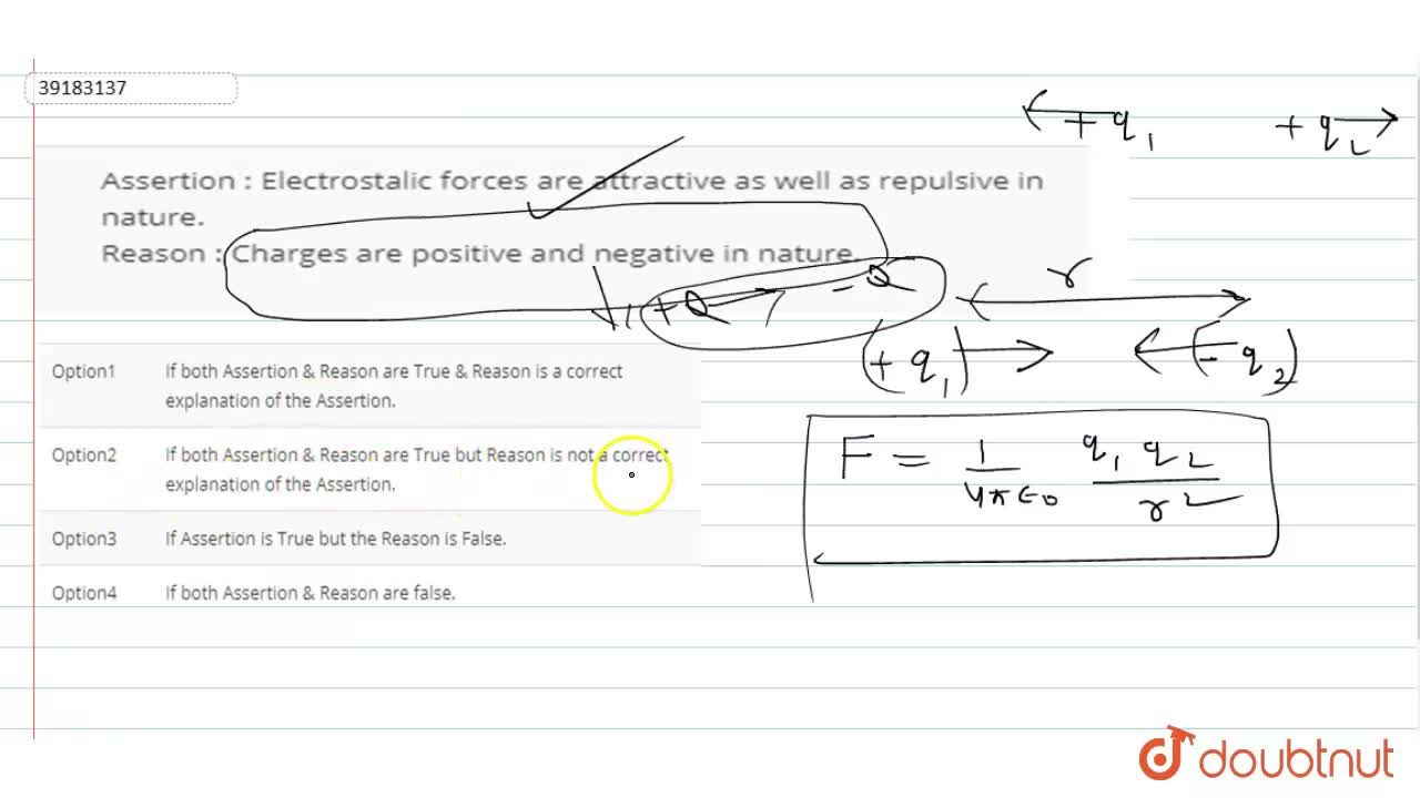 Solution for Assertion : Electrostalic forces are attractive as