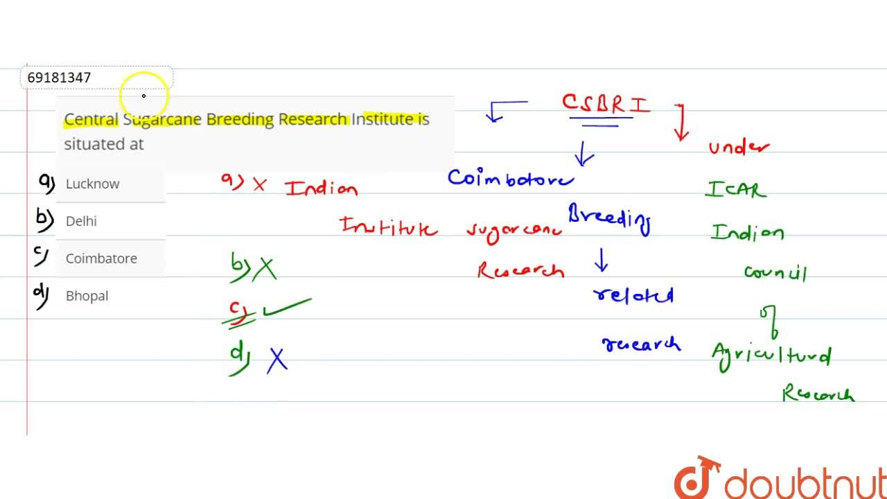 Solution for Central Sugarcane Breeding Research Institute is s