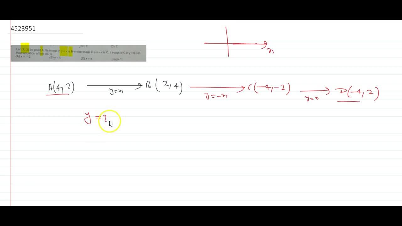 Solution for Let (4, 2) be point A. Its image in y = x is