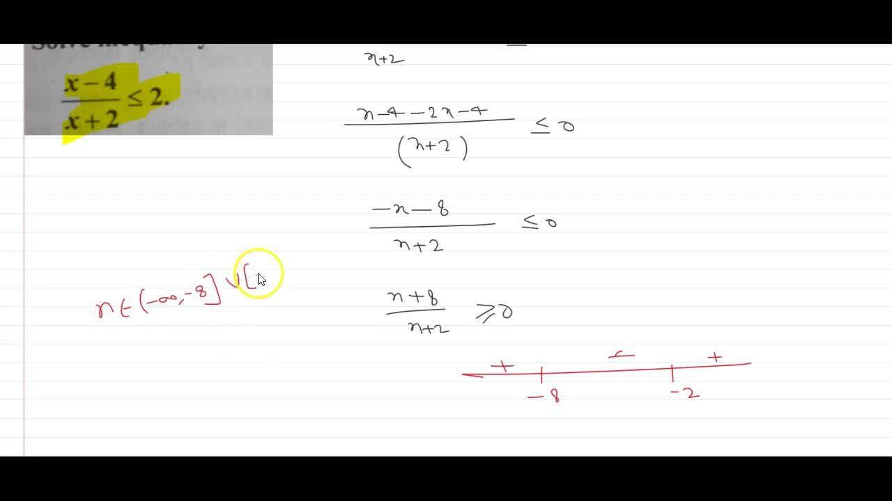 Solution for (x-4),(x+2)lt=2  Solve inequality