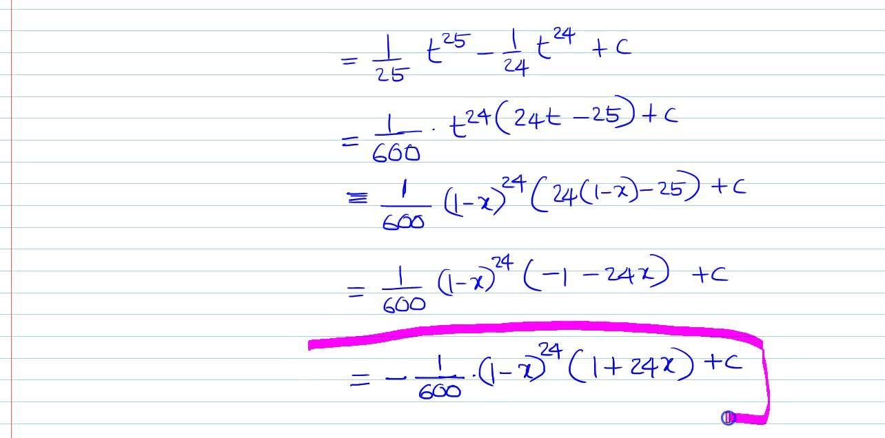 Solution for Evaluate: intx(1-x)^(23)dx