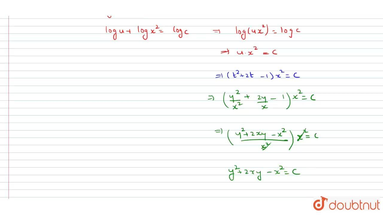 Solve the differential equation :  y+x(dy),(dx)=x-y(dy),(dx)