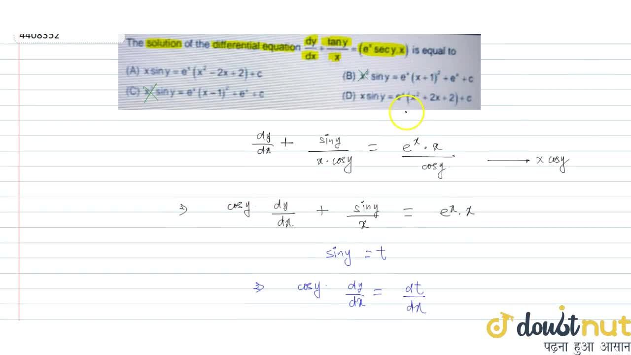 Solution for The solution of the differential equation (dy),(d