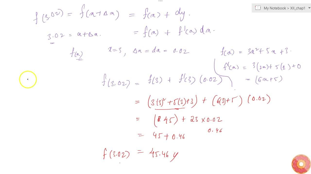 Find the approximate value of f(3.02), where f(x)=3x^2+5x+3.