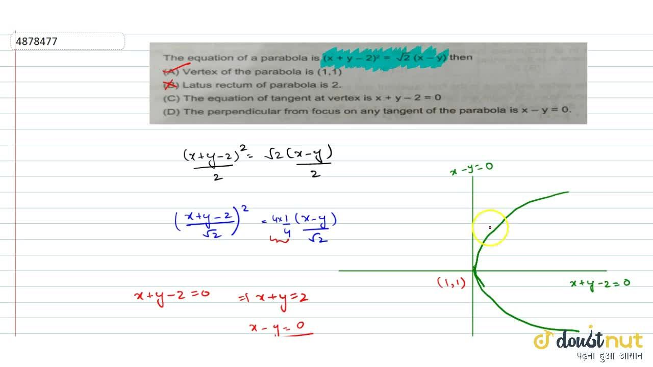 Solution for The equation of a parabola is (x + y - 2)^2 = sqr