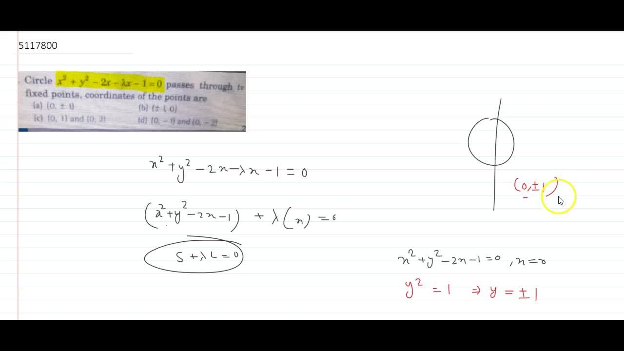 Solution for Circle x^2 + y^2 - 2x - lambdax - 1 = 0 passes t
