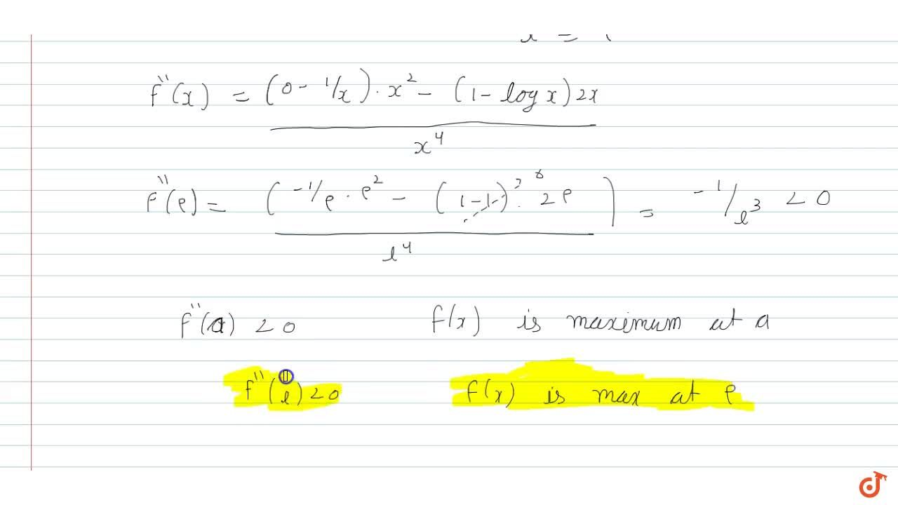 Solution for Show that the function given by f(x)=(logx),xhas