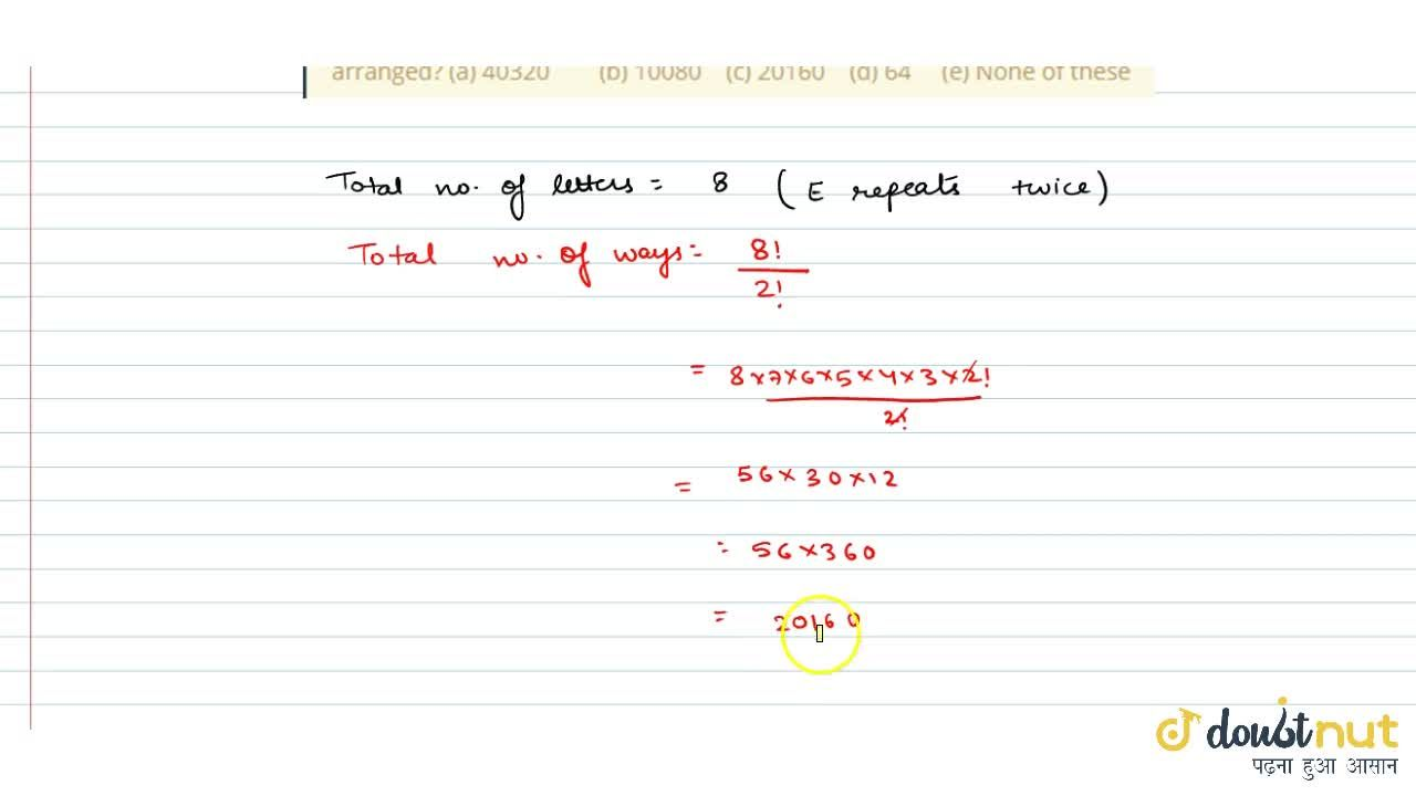 Solution for In how many   different ways can the letters of t
