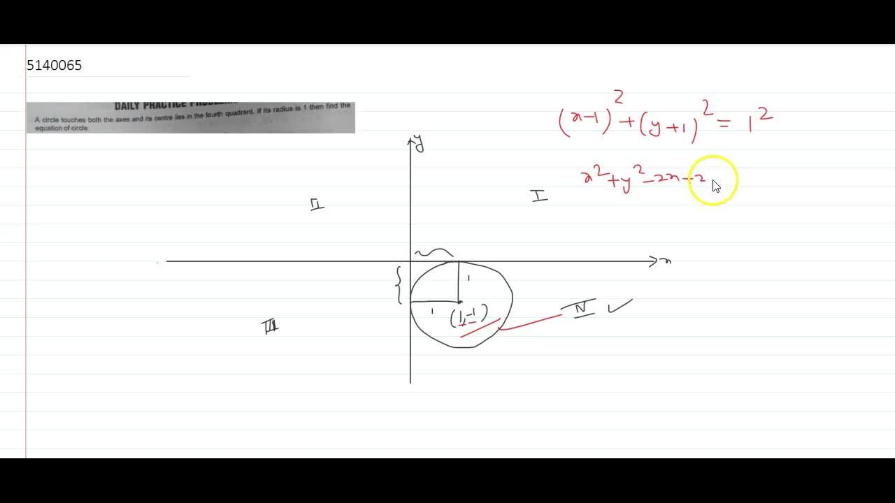 A circle touches both the axes and its centre lies  in the fourth quadrant. If its radius is 1 then find the equation of circle.