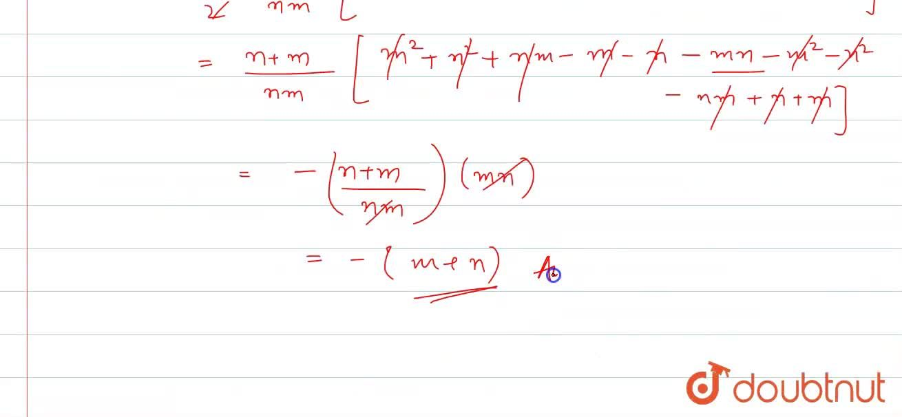 The sum of m and n terms of an A.P.  are n and m respectively. Prove that the sum of (m + n) terms will be - (m+n).