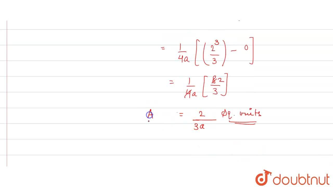 Solution for Find the area bounded by the curve y^2=4a x and