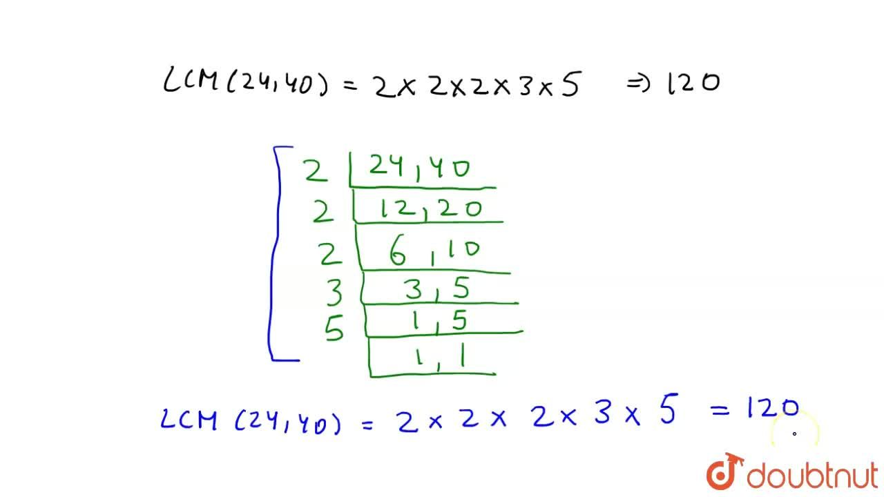 Solution for Find the LCM of 24 and 40
