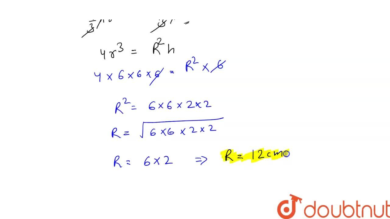 Solution for A sphere of radius 6 cm is melted and reacst in to
