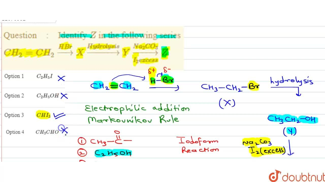 Solution for Identify Z in the following series <br> CH_(2)=