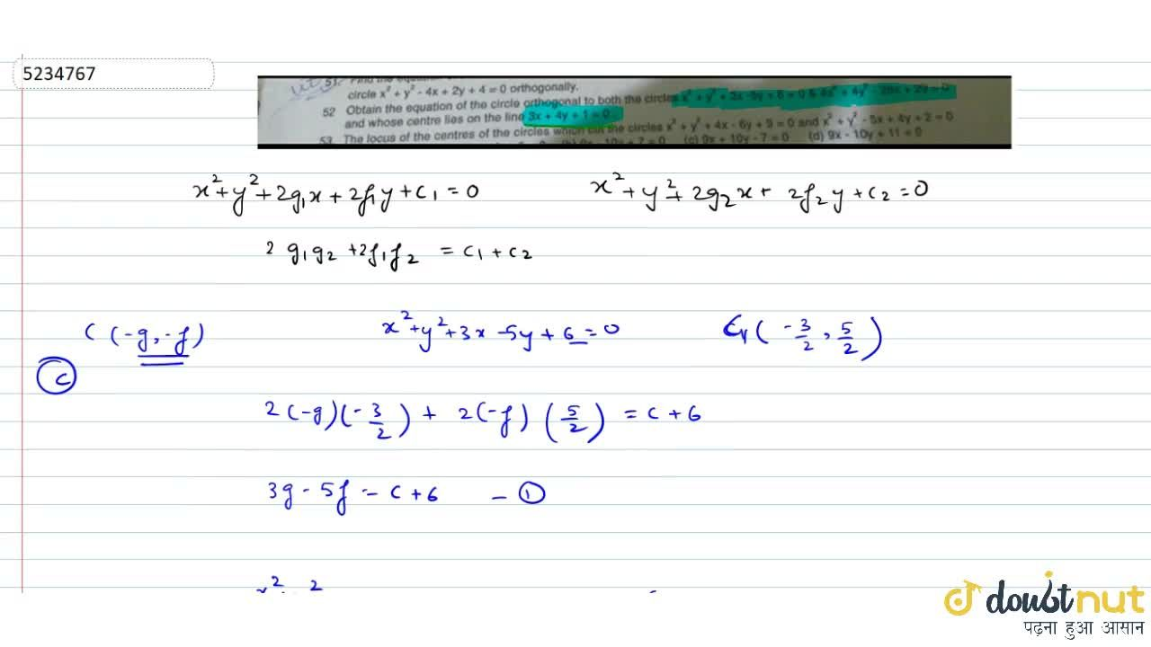 Solution for  Obtain the equation of the circle orthogonal to b