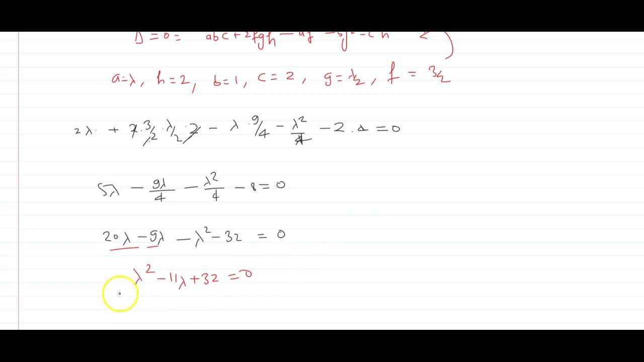 Solution for Find the value of lambda for which the equation