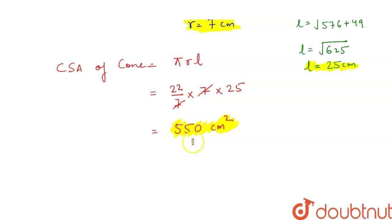 The volume of a right circular cone of height 24 cm is 1232 cm^(3). Its curved surface area is