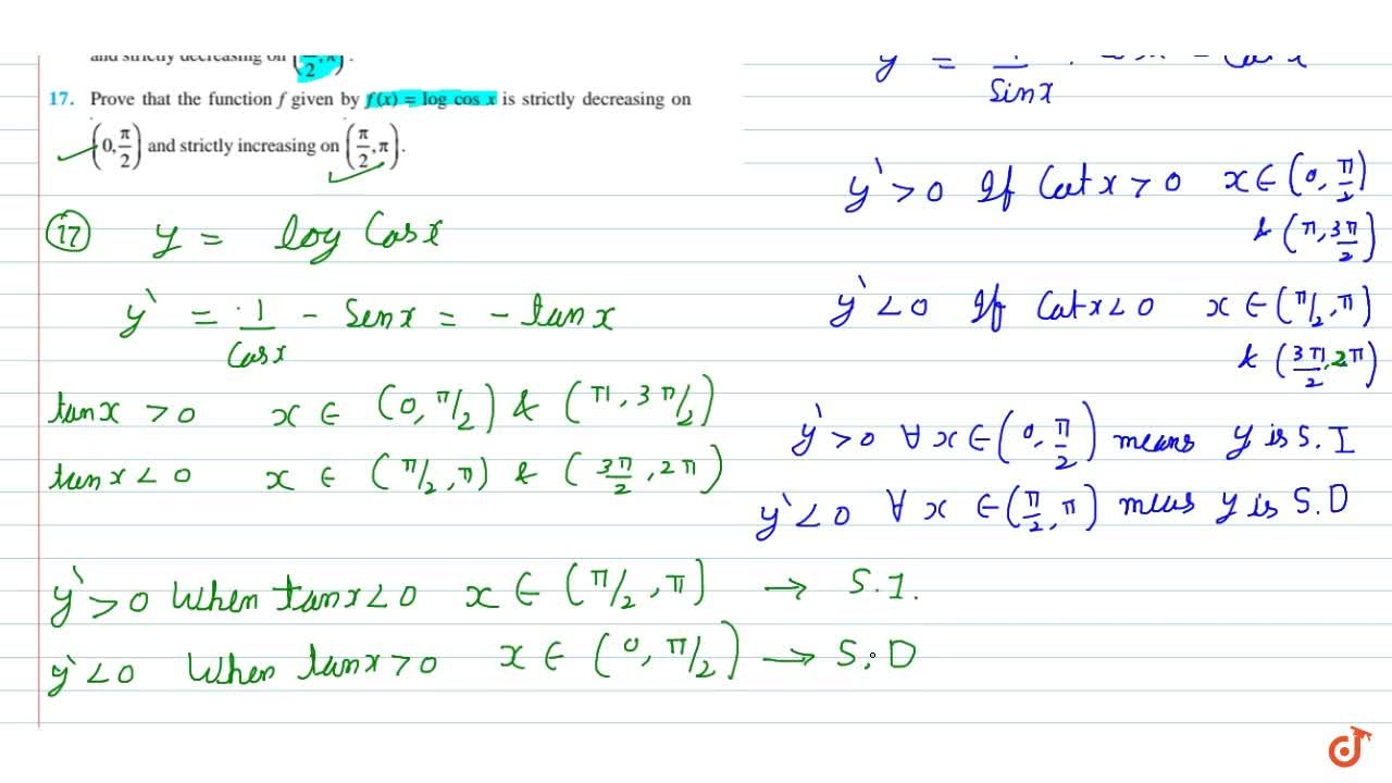 Solution for  Prove that the function f given by f (x) = log c