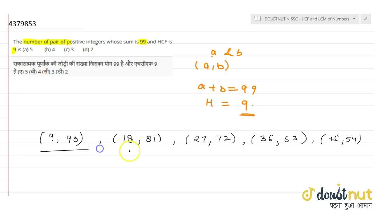 Solution for The number   of pair of positive integers whose s