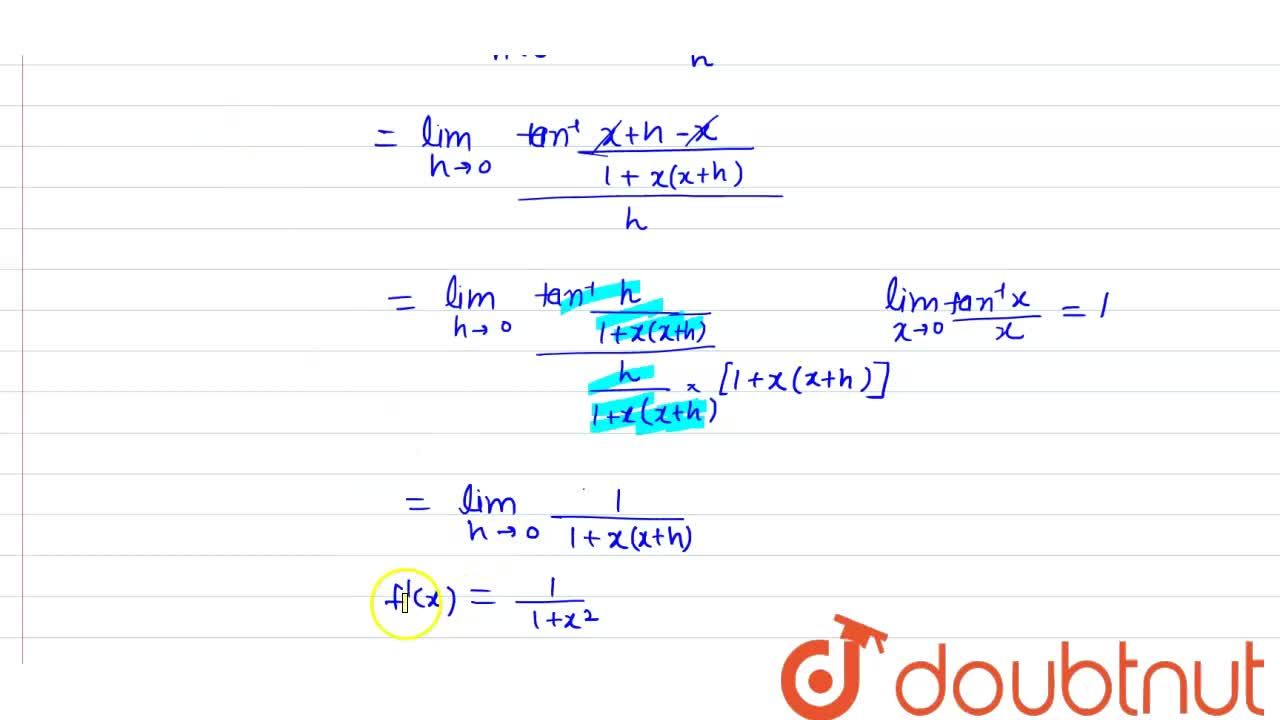 Solution for Find differentiation of arc tanx using first pri