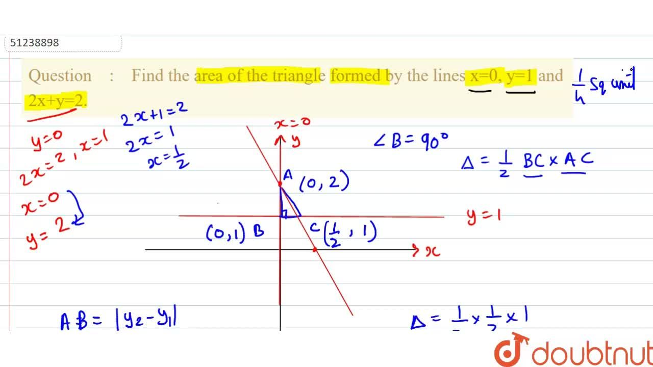 Find the area of the triangle formed by the lines x=0, y=1 and 2x+y=2.