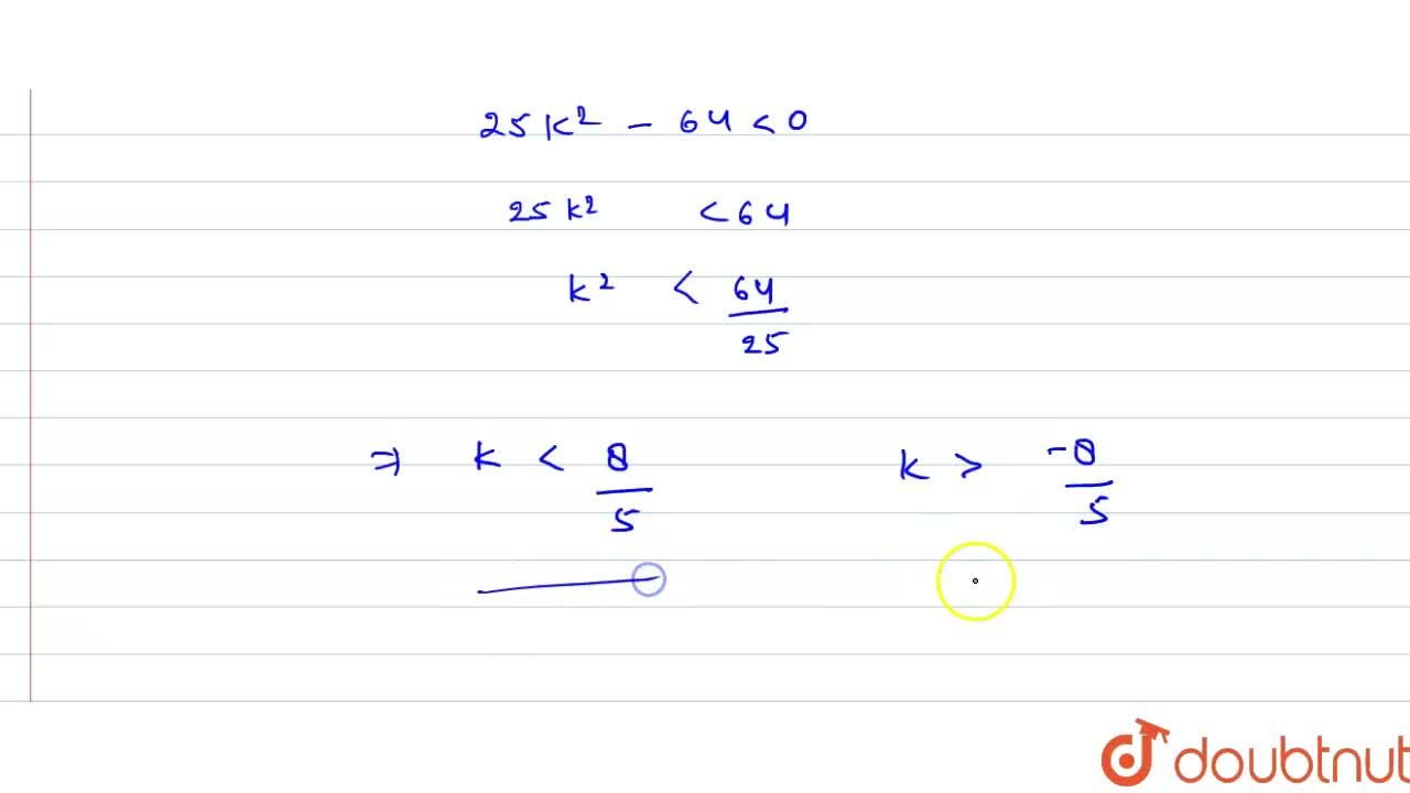 Solution for Find the values of k for which the equation x^2